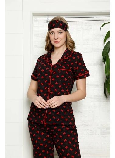 Akbeniz Kadın %100 Pamuk Önden Düğmeli Kısa Kol Pijama Takım 2817 Siyah